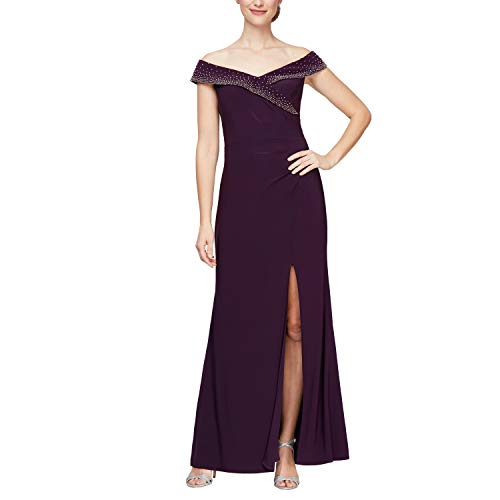Alex Evenings Women's Long Off The Shoulder Fit and Flare Dress, Eggplant, 12