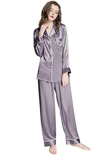 Damen Seide Schlafanzug Pyjama Grau Medium