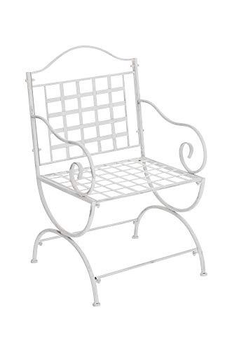 CLP Eisenstuhl Lotta im Jugendstil I Outdoor-Stuhl mit Armlehnen I Handgefertigter Gartenstuhl aus Eisen I erhältlich, Farbe:antik weiß