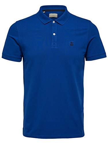 SELECTED HOMME Herren Shdaro Ss Embroidery Polo Noos T-Shirt , Blau (Limoges) , X-Large