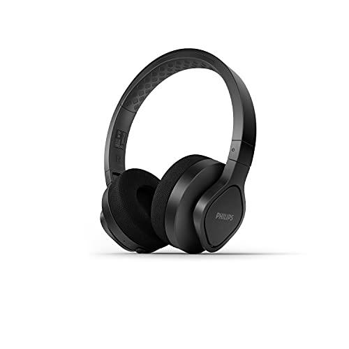 PhilipsA4216BK/00 Auriculares Deportivos Inalámbricos (De Diadema, 35 Horas de Reproducción, Protección IP55, Almohadillas Refrescantes, Almohadillas Lavables) Negro - Modelo de 2021/2022