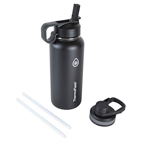 Thermoflask Garrafa de água isolada dupla de aço inoxidável, 946 ml, preta