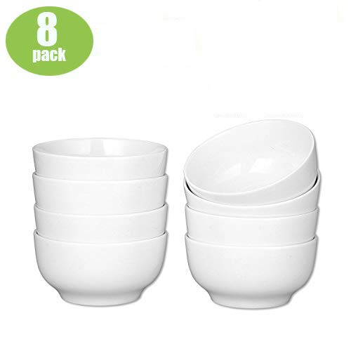 Accguan 24-Ounce Porcelain Cereal, Soup Bowl, Dinner Set-8 Packs, White, 6 Inch