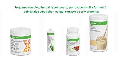 Programa completo herbalife compuesto por batido vainilla formula 1, bebida aloe vera sabor mango, extracto de te y proteinas
