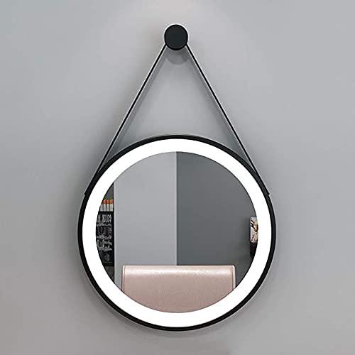 ZCZZ Espejo de baño Redondo, Elegante Espejo de Maquillaje de tocador montado en la Pared Iluminado, Marco de Metal, luz Blanca 6000K, Dorado/Negro