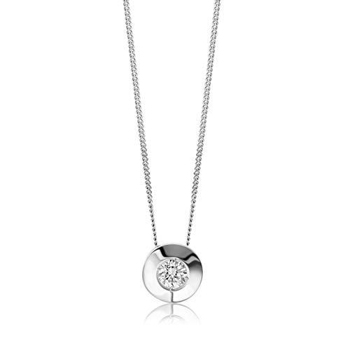 Orovi Damen Diamant Kette Weißgold, Halskette mit Solitär rundem Anhänger 18 Karat (750) Gold und Diamant Brillanten 0.08 Ct, 45 cm lang Halskette Handgemacht in Italien