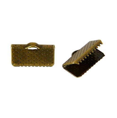 LOT DE 40 EMBOUTS PINCES ATTACHES RUBAN A GRIFFES COULEUR BRONZE 13x6mm - LIVRAISON GRATUITE - CREATION PERLES