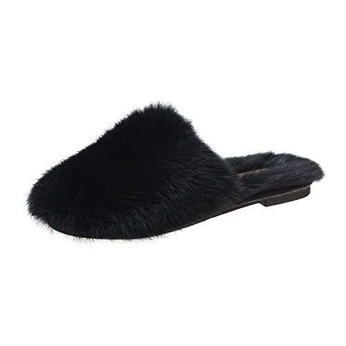 Zquest Hausschuhe für Männer Stilvolle Hausschuhe für Damen, Herbst- und Wintermode Hausschuhe mit flachem Boden - Schwarz_36