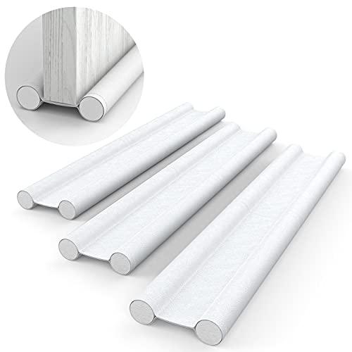 H HOMEWINS Zugluftstopper für Türen Weiß 3er Set - Zuschneidbare Türdichtung gegen Zugluft - Energiesparende Türbodendichtung bis zu 88 cm - Schutz vor Lärm und Kälte