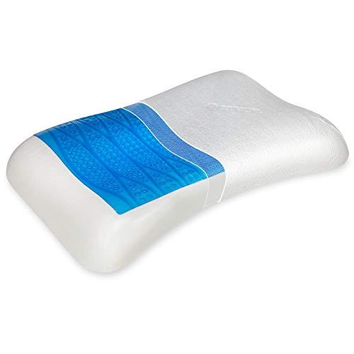 Vitabo Komfortables Kopfkissen mit kühlender Gelauflage I ergonomisches Seitenschläferkissen Nackenkissen – Viscoschaum 100% Lyocell Bezug
