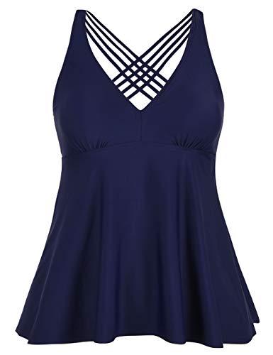 Firpearl Women's Tankini Swimsuits Cross Back Flowy Swim Tops Modest Swimwear US22 Navy