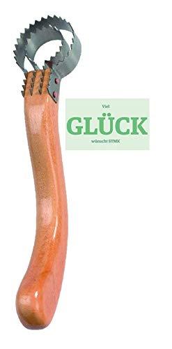 STMK visschoeper de Luxe met houten handvat + gratis geluk sticker