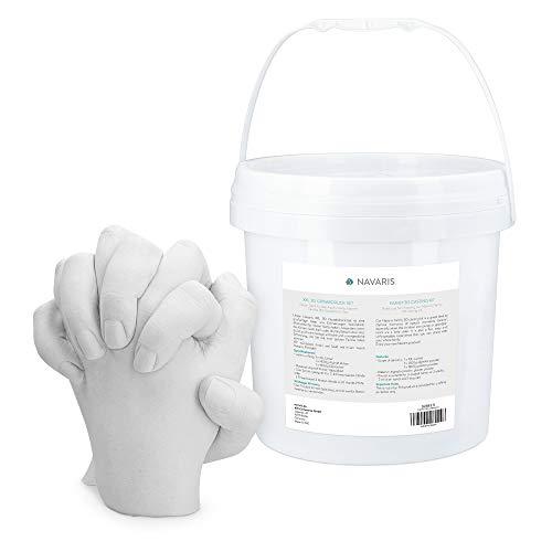 Navaris Kit 3D para moldes de Manos y pies - Molde de Yeso alginato para Mano y pie para Familia Adultos niños - para 3-4 Manos de Adulto - Pack XXL