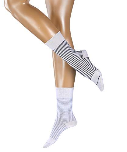 ESPRIT Damen Fine Stripe 2-Pack W SO Socken, Weiß (White 2000), 39-42 (2er Pack)
