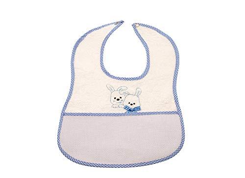 my STITCHERY® Baby Lätzchen mit Häschen Motiv und Druckknopf in Farbe blau ab 6 Monate, Kleinkind, 34cm x 23,5cm Öko-TEX®