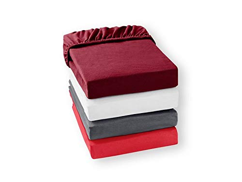 Meradiso Spannbettlaken, verstellbar, Farbe Bordeaux, Flanell, Maße: 190 x 200 x 25 cm