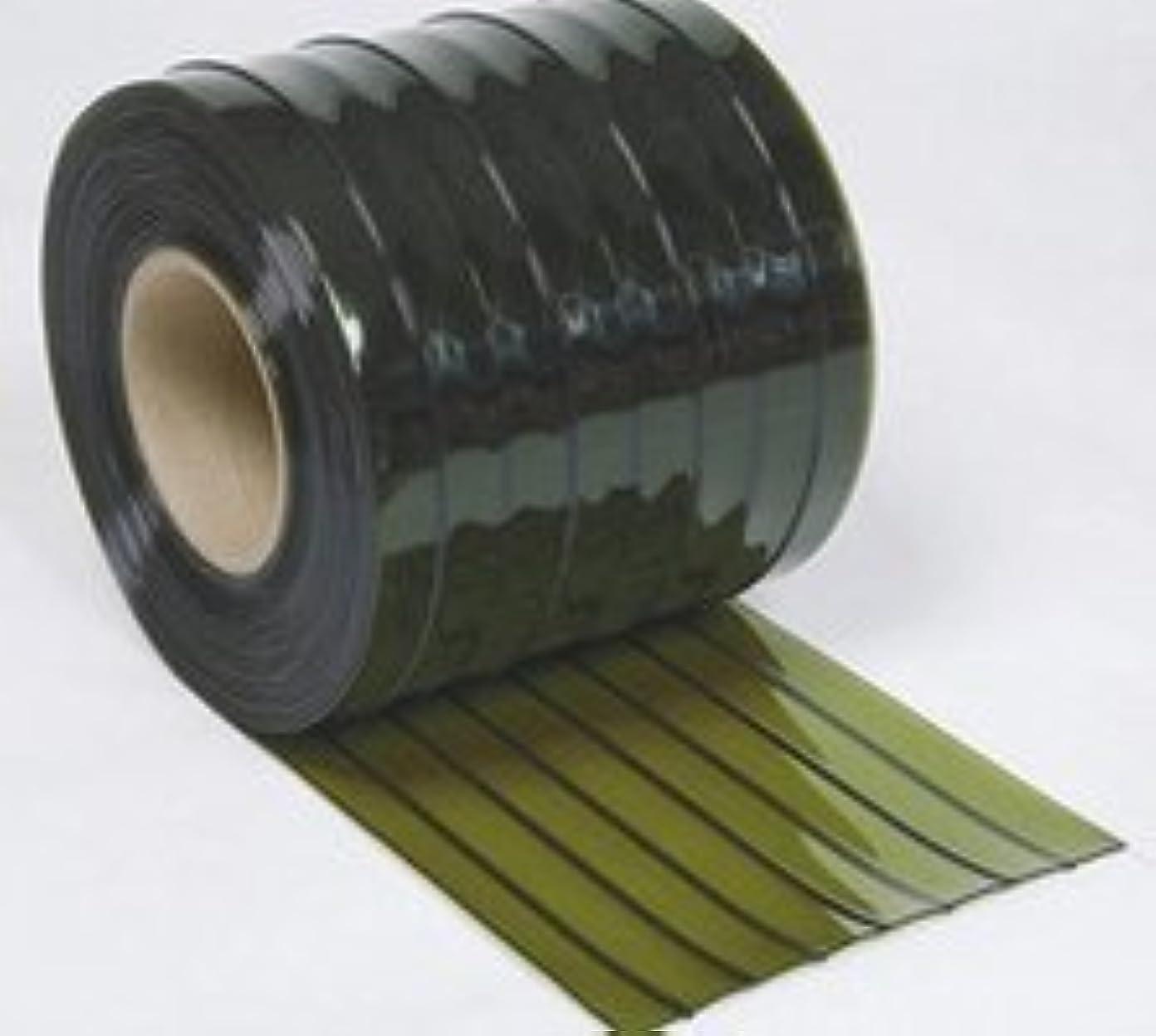 櫛ティッシュ仮装防虫ビニールカーテン(のれん式) オプトロン 緑 (リブ付) 厚み3mm×幅300mm×長さ30M巻 1巻