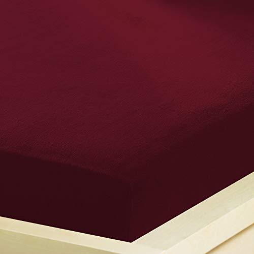 G Bettwarenshop Inkontinenz Spannbettlaken 2In1 • Wasserdicht Aus Weichem Feinbiber • Spannbetttuch Und Matratzenschutz In Einem 90x190-100x200 cm dunkelrot