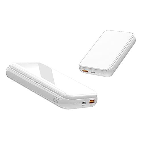 15W Fast Charge Wireless, 10000MAH Wireless Power Bank Laddning Powerbank Externt batteri, Bärbart laddare Hjälpbatteri,White