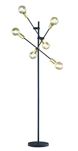 Trio Lighting Cross Lámpara de pie E27, 28 W, Negro Mate, 54.5 x 54.5 x 165 cm