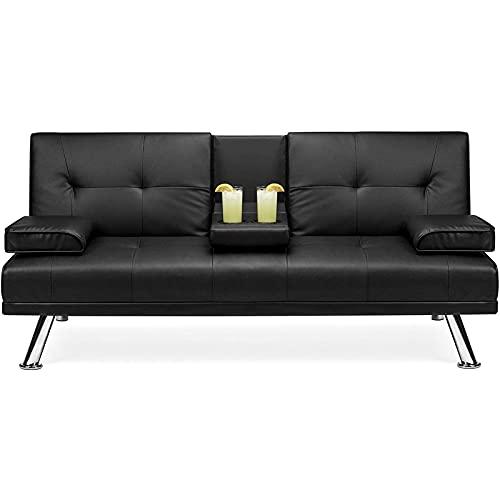 KILOL Sofá Cama, sofá Cama reclinable con reposabrazos, Cuero Artificial tapizado Moderno Moderno sofá Cama futón para Espacios de Vida compactos, Apartamentos, dormitorios, pies metálicos.