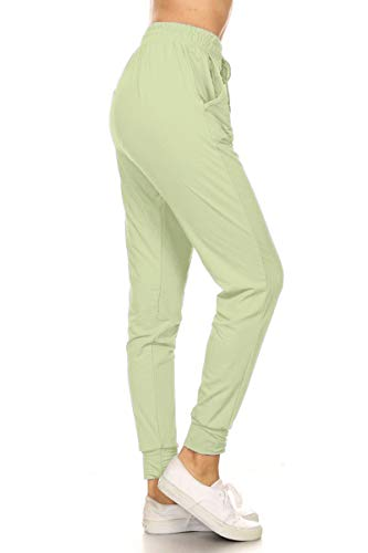 Leggings Depot JGA128-SEAFOAM-S Solid Jogger Track Pants w/Pockets, Small