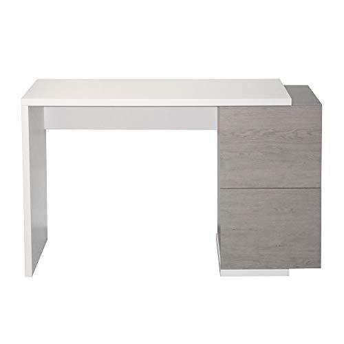 Berlioz Creations Tibur - Consolle da scrivania, pannelli di particelle, quercia/bianco lucido, 122 x 34 x 77 cm