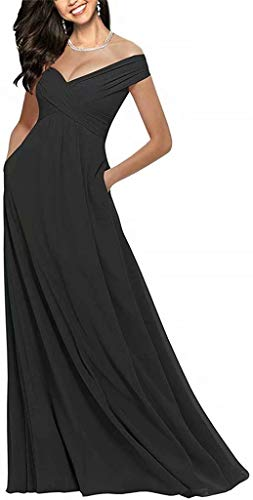 HellodayZ Women's Chiffon Off Shoulder Long Wedding Dresses with Pockets Prom Evening Gowns Black one Size