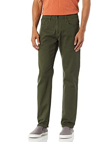 Southpole Men's Flex Stretch Basic Twill and Rinse Denim Pants, Olive Skinny, 34X32