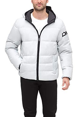 DKNY Men's Water Resistant Ultra Loft Hooded Logo Puffer Jacket, Silver, Small