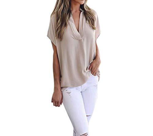MORCHAN Femmes Dames dété en Mousseline de Soie à Manches Courtes Chemise décontractée Tops Blouse T-Shirt