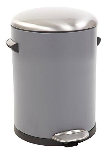 EKO Belle Deluxe Poubelle à Pédale Métal Gris 27,2 x 23,7 x 30 cm 5 litres