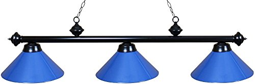 Ozone Black Pool Table Light with Blue Shades