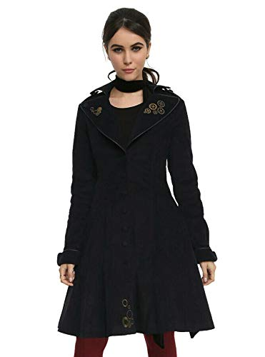 Doctor Who Trench Coat Embroidered Gears Detailing Lining Exploding Tardis Print Blue