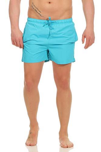 Mivaro Herren Badehose | Kurze Bade-Shorts | schnelltrocknend mit Innenfutter, Größe:L, Farbe:Türkis
