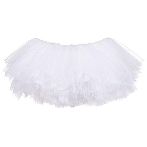 My Lello Little Girls 10-Layer Short Ballet Tulle Tutu Skirt (4 mo. - 3T) -White