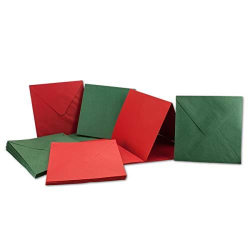 30x quadratisches Falt-Karten Set inklusive Brief-Umschläge - Blanko Einladungskarten in Rot und Grün - 135 x 135 mm (13,5 x 13,5 cm) Klappkarten