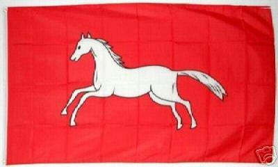 Fahne Hannover mit weissem Pferd Grösse 1,50x0,90m