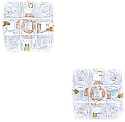 14 Karat (585) GelbGold 9 x 9, 9 mm, 2270.160 JewelryWeb Ohrringe Zirkonia quadratisch Krappenfassung