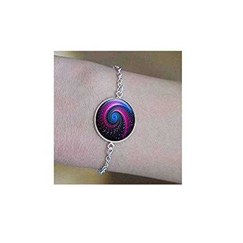 bab Collar de galaxia para mujer con dijes de cristal de nebulosa espacial, pulseras de cabujón, joyería con mensaje positivo