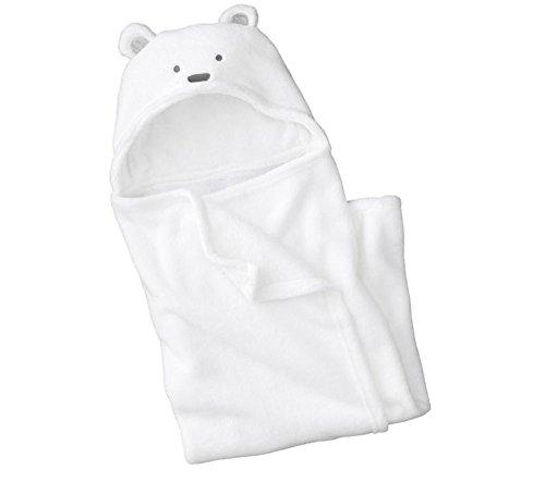 reine à la mode-Peignoir de bain à capuche pour bébé, à motif nounour ourson (Blanc)