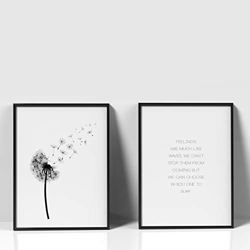 Papieren smeden Premium motief-sets | Stijlvolle wanddecoratie voor de fotolijst in vele formaten DIN A3 (29,7cm x 42cm) Motief: paardenbloem