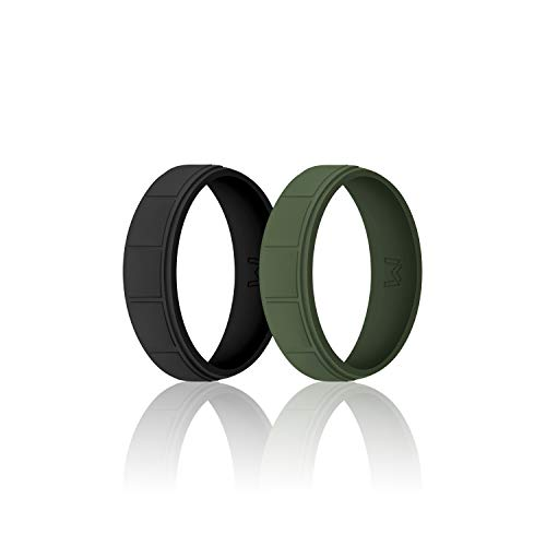 WIGERLON Mens Silicone Wedding Ring &Rubber Wedding Bands Width 8.7mm Pack of 2 Size 10