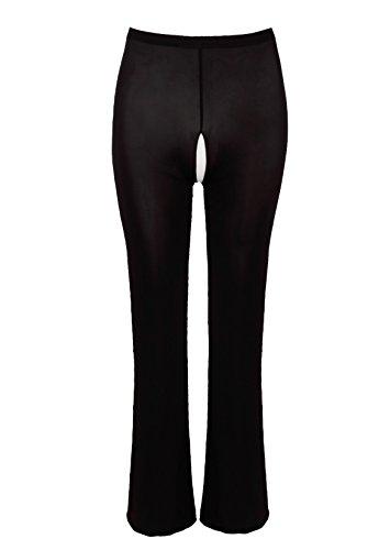 FEESHOW Damen Sexy Pants Ouvert Leggings Transparent Unterwäsche Lange Netz Hose Reizwäsche offen Schritt Schwarz/Weiß Schwarz Ouvert M