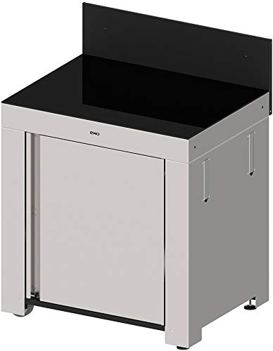 Eno - mod4101 - Plancha Module Cuisine d'extérieur INOX et crédence Noire