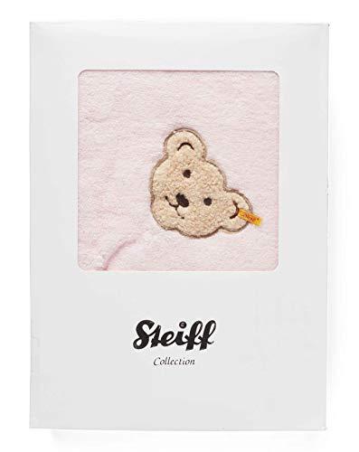 STEIFF Baby Badetuch mit Kapuze 000020312 Kapuzenhandtuch Frottee Handtuch (ca. 100 x 100 rosa)