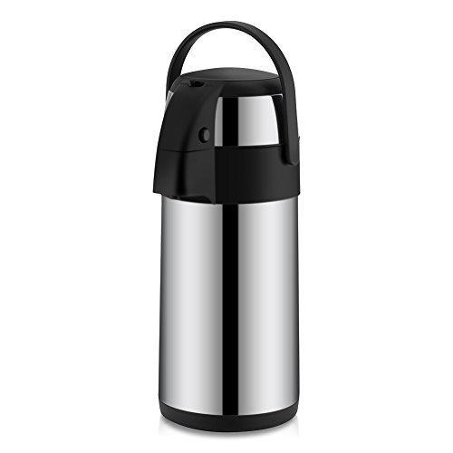 Bewinner 3 liter Pump Action Airpot/Thermo-koffiefles/Dubbelwandige geïsoleerde thermosfles van roestvrij staal / 8 uur warmteopslag Ideaal voor thuis, op kantoor of bedrijf