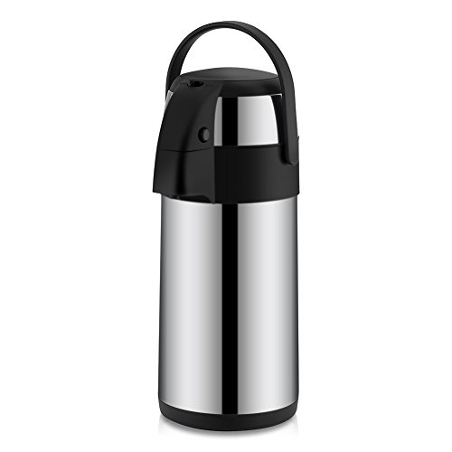 3 Liter Airpot Koffie Dispenser met Pomp, Roestvrij Staal Vacuüm Geïsoleerde Koffie Karaf Thermos Thermoscoop Drank Dispenser met Draaggreep voor Warm Koud Water