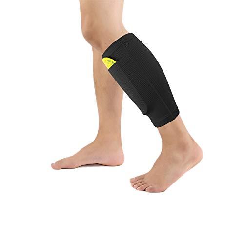 Dokpav Football Shin Guard Socks Sleeves Double Layer Mesh Breathable for Football Games Beginner Elite Athlete Running Jogging - Children Teenagers Boys Girls Men Women- No Shin Pads (Child-Black)