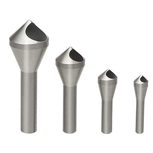 OCGIG 4pcs Countersink Chamfer Tool HSS(4241) Deburring Tool Set Metal Wood Drill Bits